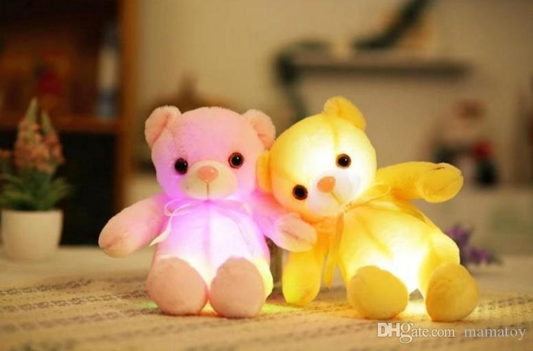 32cm Creative Light Up LED Teddy Bear Stuffed Animals Plush Toy Colorful Glowing Teddy Bear Christmas Gift for Kids
