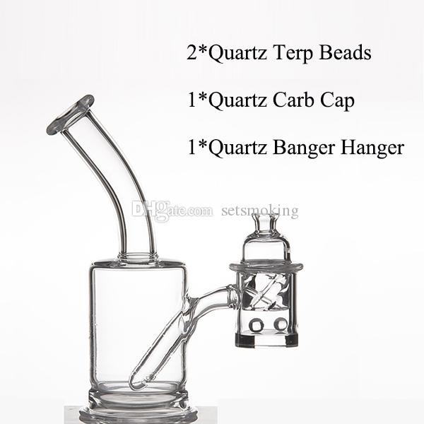 Cuarzo Banger Hanger 25mm Flat Top + Quartz Trep Beads + 31 mm OD Cuarzo Carb Cap para Glass Water Pipes Dabber Glass Bongs Dab Oil Rigs