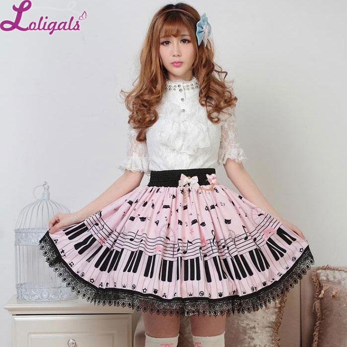 Gonna corta Lolita all-ingrosso Cute Key Key e Melody Printed Summer Skirt for Women
