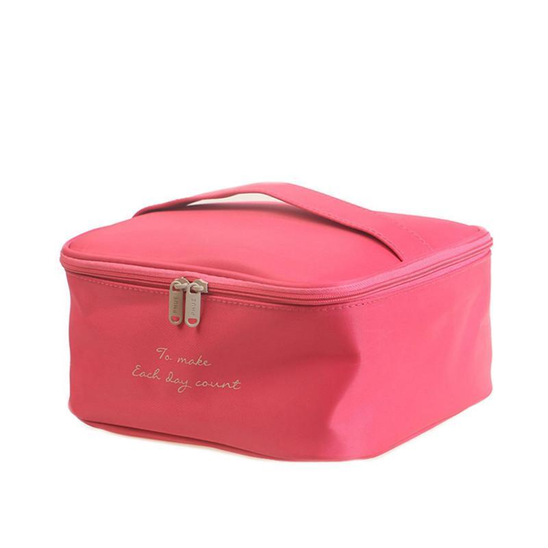 HIPSTEEN Portátil Bolsa de Oxford de gran capacidad EVA Mujer Cosmético Maquillaje Bolsa de almacenamiento de viaje Bolsa de cosméticos para niñas - Rosy Red