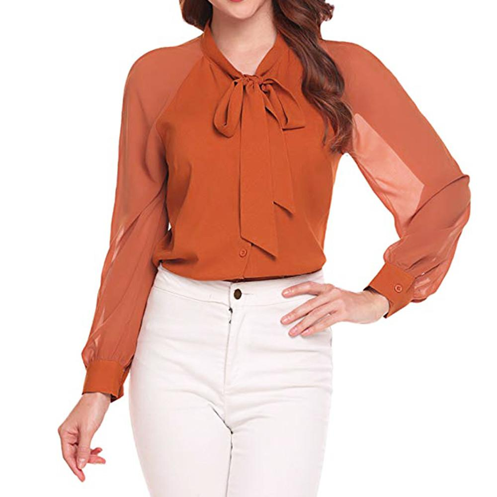 f9ae08ce01 2019 2018 Summer Chiffon Womens Tops Blouses For Elegant Women Ladies  Blouses Office Wear Solid Bow Tie Womens Tops And From Xinpiao, $23.03 |  DHgate.Com