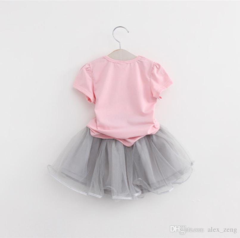 2018 sommer Neue Baby Mädchen Kleidung Sets Mode-stil Cartoon Kätzchen Gedruckt T-Shirts + Net Schleier Kleid 2 Stücke Mädchen kleidung kinder outfits