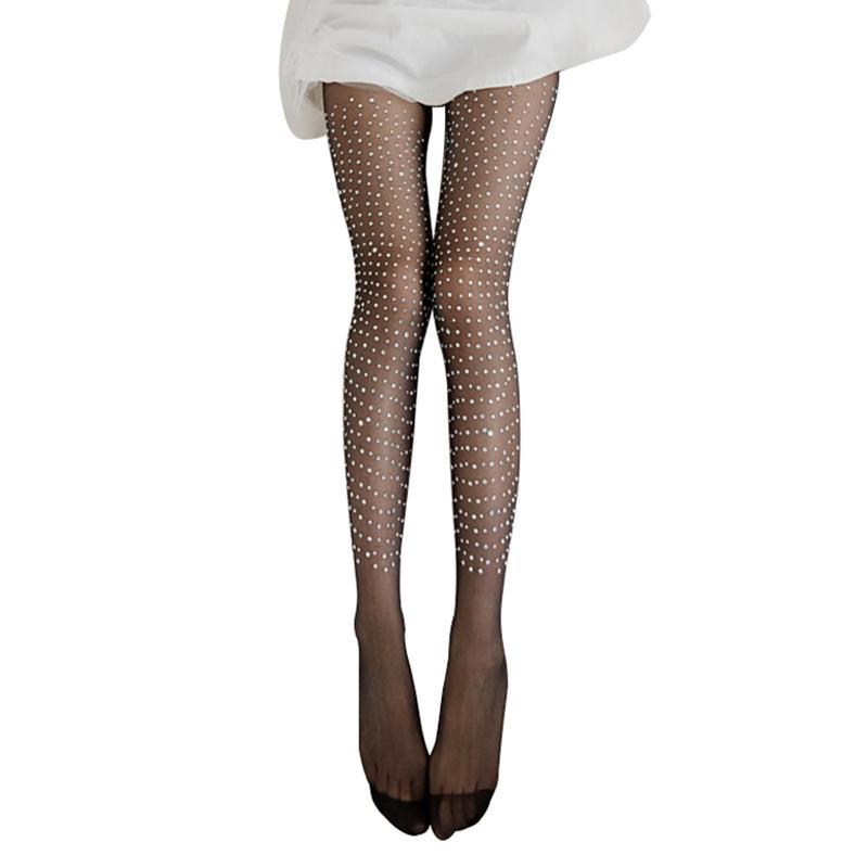 ca318c8744c sale Fashion Women Sexy Shiny Single Side Rhinestone Tights Stockings  Pantyhose Stockings Hosiery Hosiery Women's Tights W