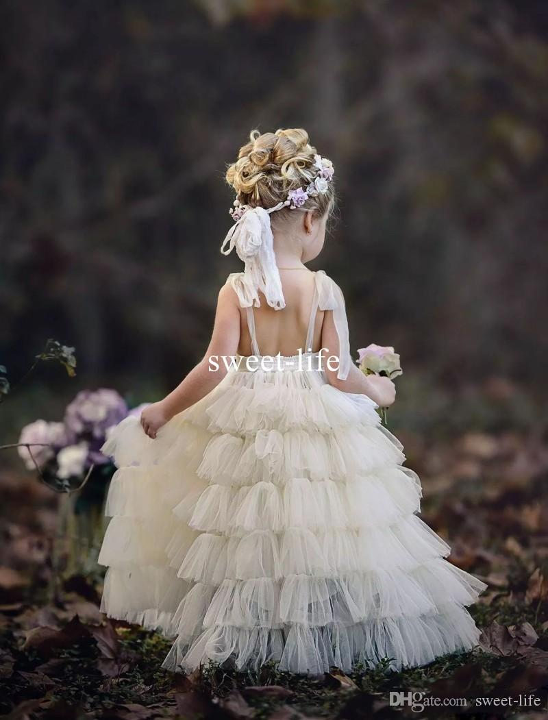 2020 Bohemia Beach Tiered Ruffles Princess Flower Girl Dresses For Weddings A Line Tutu Little Baby Gowns Cheap Lace Communion Dresses