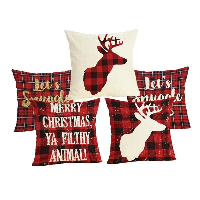 Carta Rojo Color Comestible Ciervos A Almohada Para Patrón Comedor Navidad Funda Algodón Dormir Silla Cuadros De 0mOwnvN8