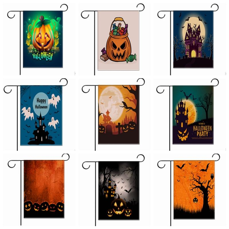 2018 pumpkin garden flags hallowmas party yard flags small custom garden flag halloween house decoration garden decor 16 designs yw1505 from bling_world - Small Garden Flags