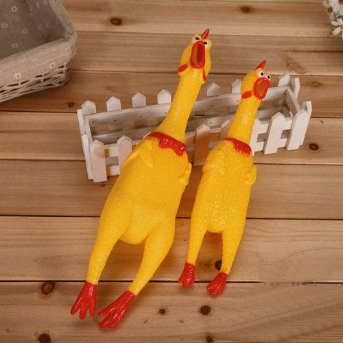 Shrilling Chickens 17cm 31cm 39cm Screaming Rubber Chicken Squeeze Stress Toy Funny Squeeze Sound Toy children gift DHL wholesale 200pcs