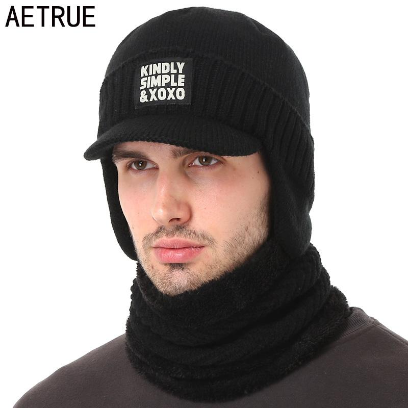 b6e8b238758f00 AETRUE Winter Hat Scarf Skullies Beanies For Men Knitted Hat Women Mask  Thick Balaclava Earflap Wool Bonnet Male Beanie Hats Cap S1020 Crochet  Beanie ...