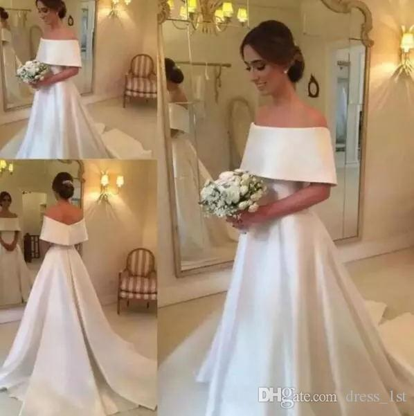 Elegant Plain Cheap Wedding Dresses Off Shoulder Neckline A Line Sweep Train Ivory Satin Simple Vintage Bridal Gowns Made In China
