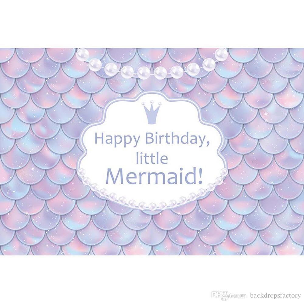 Compre Little Mermaid Photo Backdrop Escamas Impresas Perla Recién ...