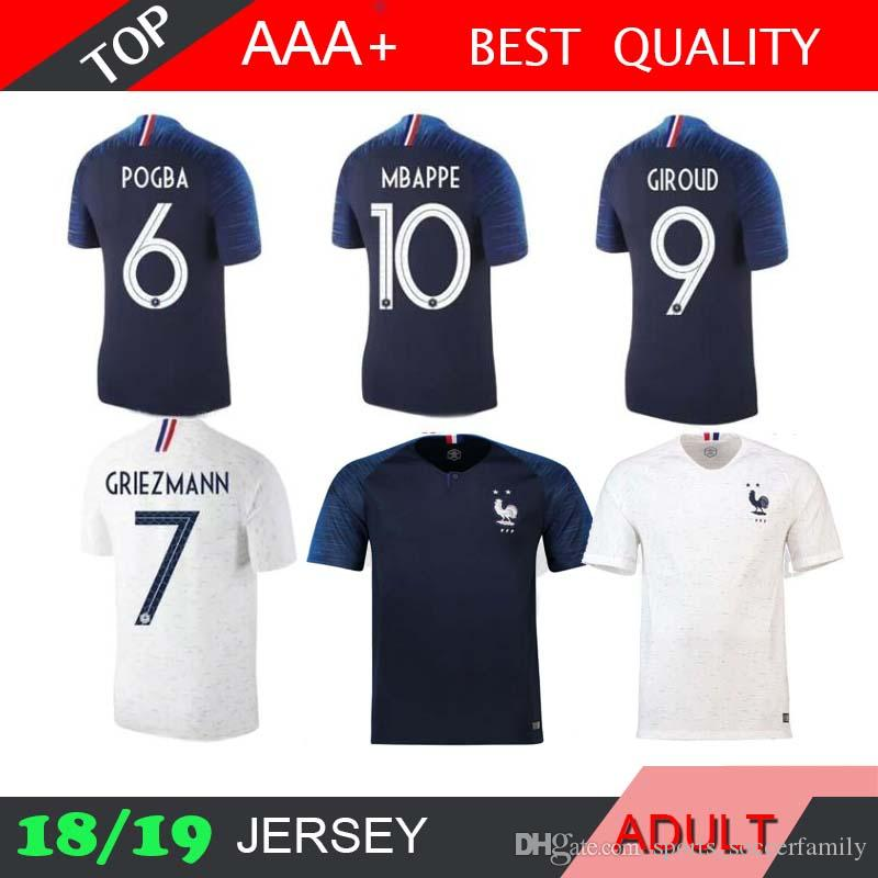 d69ec94a87d 2019 2 Stars GRIEZMANN Pogba Soccer Jersey 2018 World Cup Home BLUE 18 19  PAYET DEMBELE MBAPPE KANTE TWO Stars Football Shirts COMAN AWAY From ...