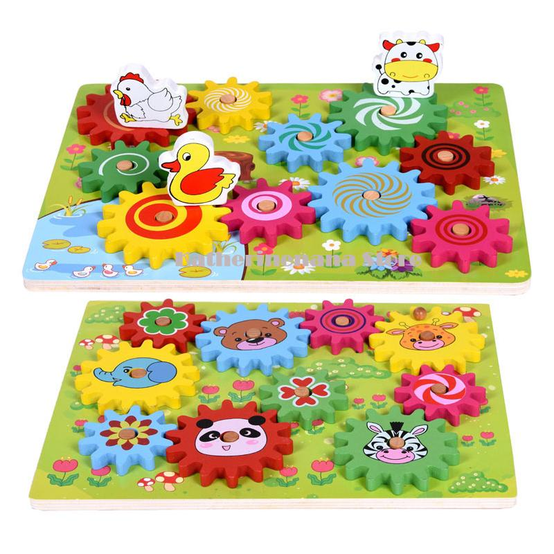 High Quality Kids Wooden Gear Assembly Block Animal Assembled Building Blocks Montessori Materials Toys Education Birthday Gift