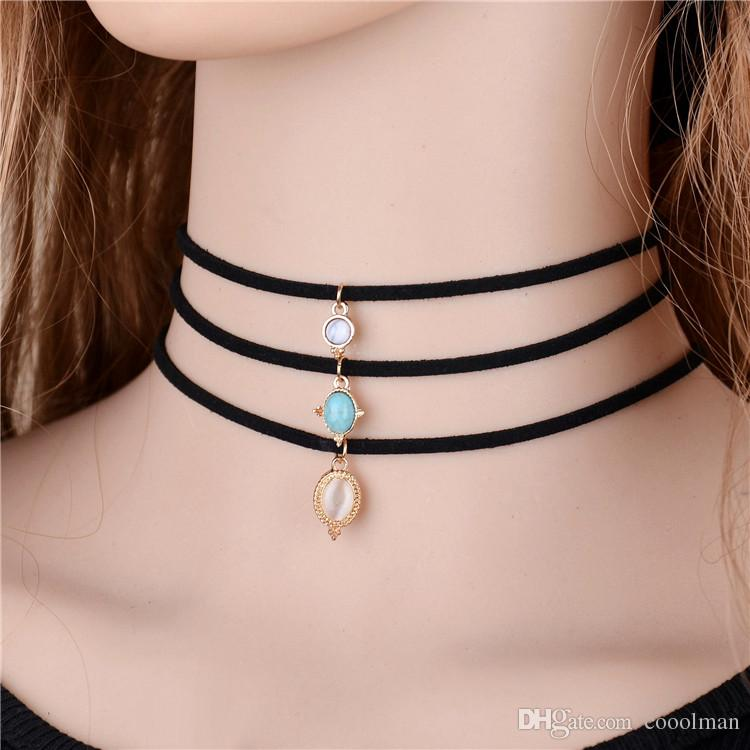 Crystal Stone Black Velvet Chokers Necklaces Vintage Created Stone Pendants Sets Necklace For Woman Collier Femme