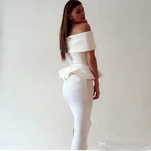 Cocktail Dresses White Satin Mermaid Prom Dress Arabic Dubai 2019 Women Off Shoulder Tea Length Back Slit Evening Occasion Gowns Party Wears