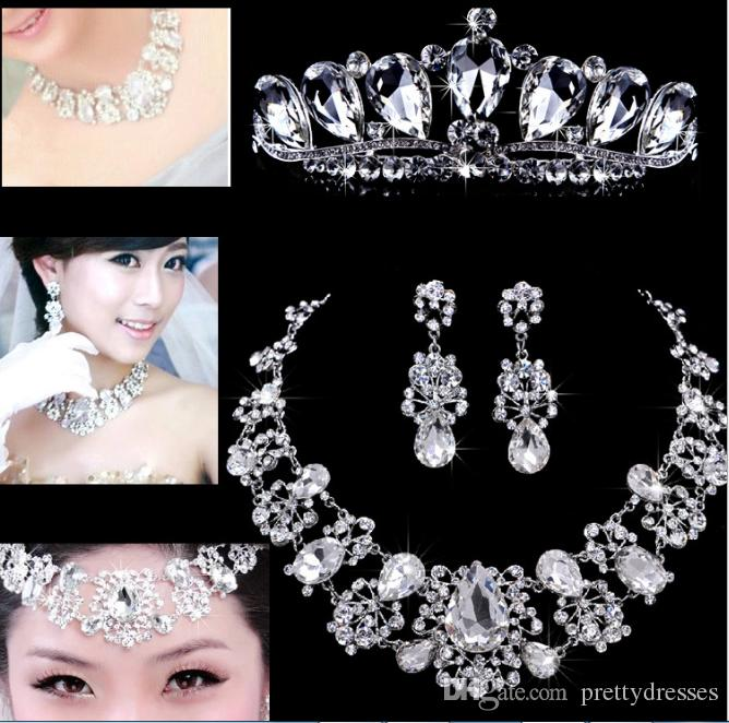 Top Sale Bling Bling Crystal Beaded Bridal Jewelry Sets Crown Necklace Earring Bridal Accessories Cheap 2018 New Design