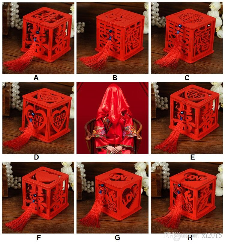 Деревянный Китайский Двойной Счастье Свадьбы Пользу Коробки Конфеты Коробка Китайский Красный Классический Полый Сахар Случае С Кисточкой