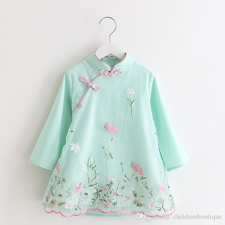 2019 Fashion Baby Dress 2018 Newest Chinese Cheongsam Toddler Kids Baby  Girls Clothes Long Sleeve Girls Embroidery Dresses Cute Baby Clothing From  ... 7b7b3751b2c9