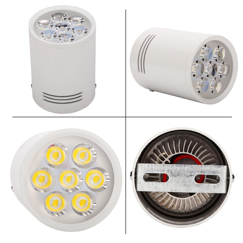 LED Downlights 3W 5W 7W 12W Lampade da soffitto a superficie tonda Spot Light Bianco Nero AC85-265V Natura pura Bianco caldo