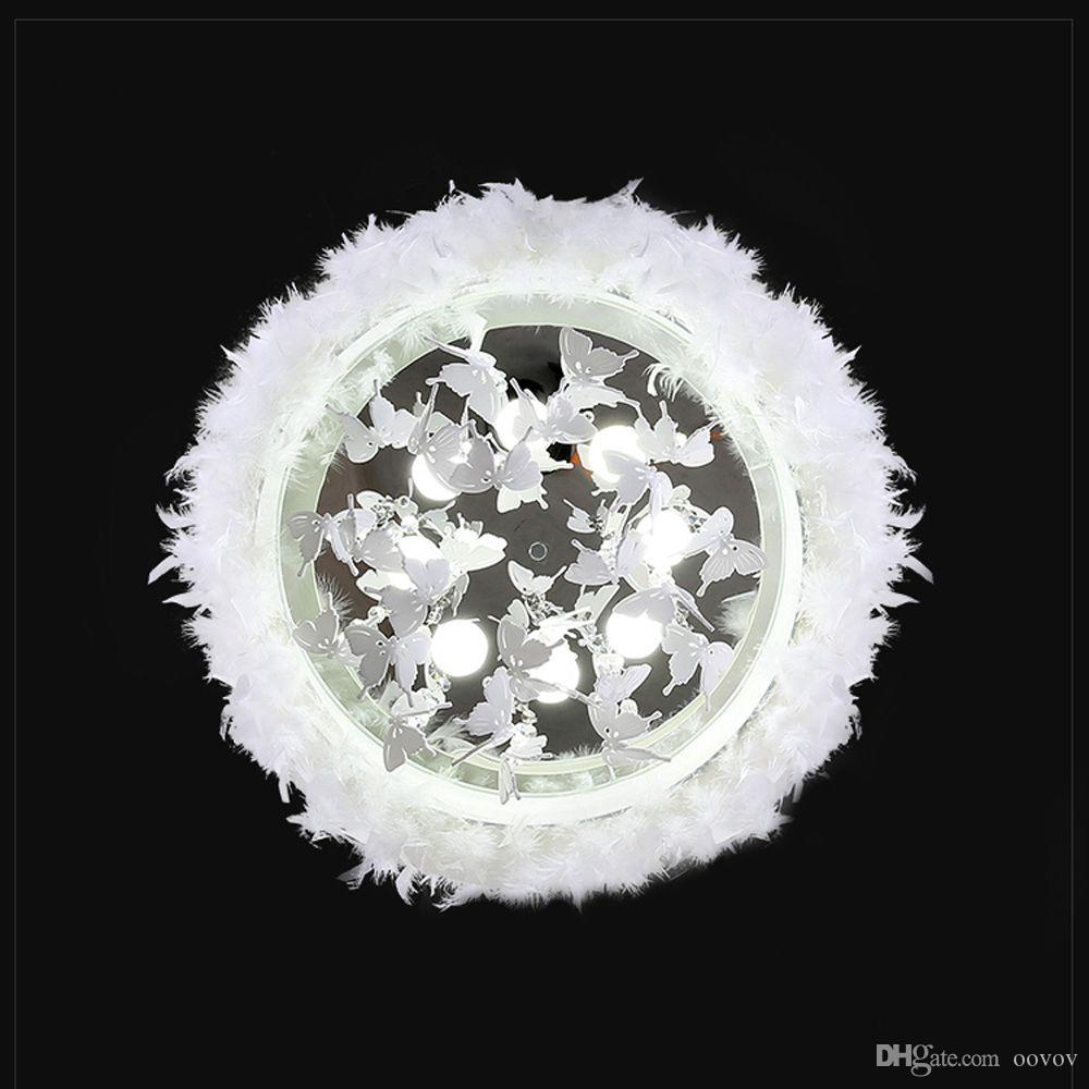 OOVOV Round White Feather Crystal Ceiling Light,24W,LED,Acrylic,Butterfly, For Bedroom,Princess Room,Living Room