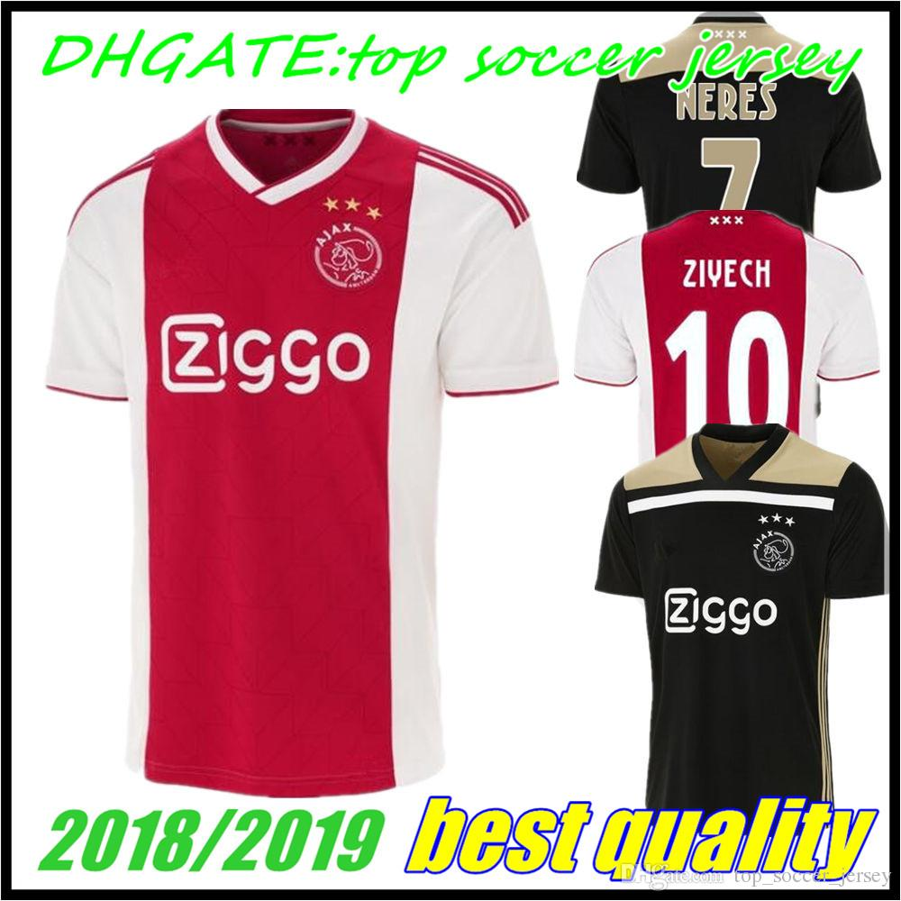 2019 Ajax Soccer Jersey 18 19 Ajax FC Jerseys Home Away Shirt 2018 2019  DOLBERG ZIYECH NOURI Football Uniform From Top soccer jersey 5b7b2a302