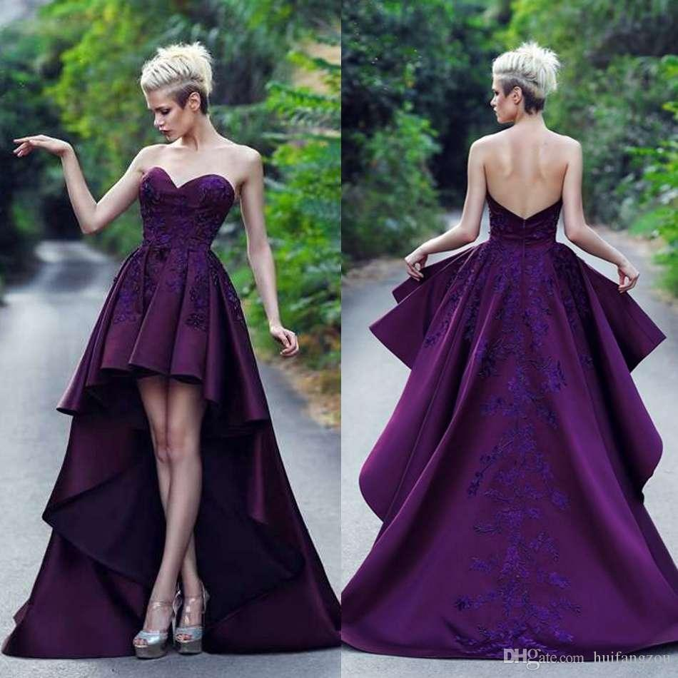 03c7a35958e 2019 Designer Prom Dresses Sweetheart Hi Lo Ruffles Lace Applique Satin Evening  Gowns With Long Train Backless Formal Party Dresses Dave And Johnny Prom ...