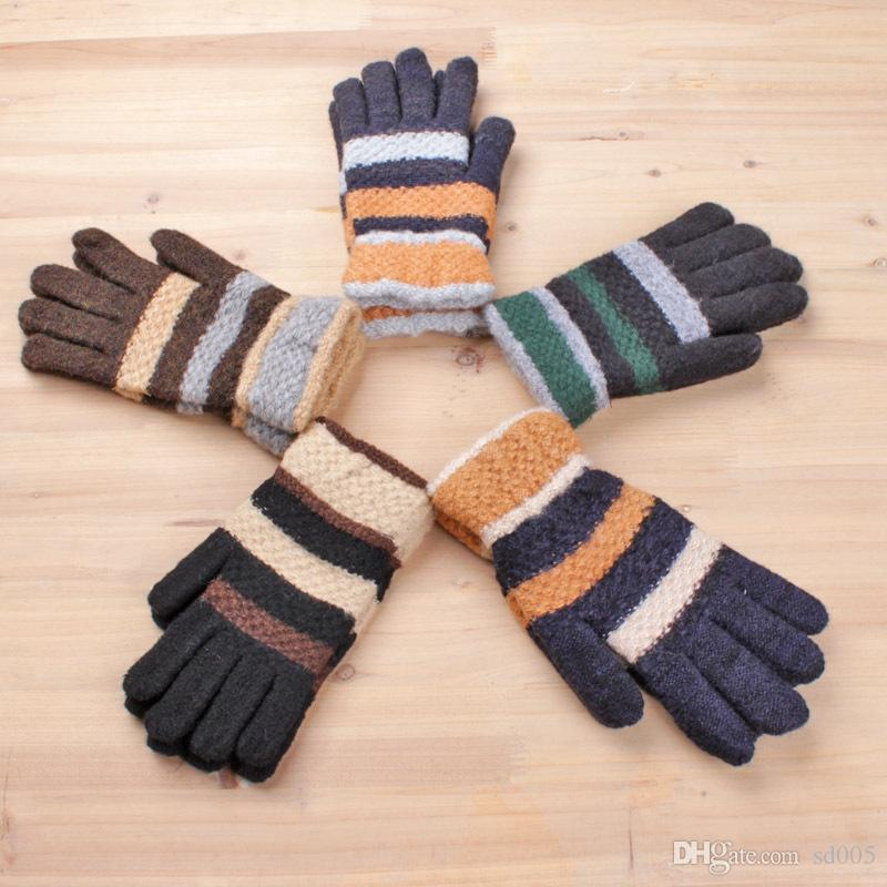 1e388aacc 2019 Multi Color Autumn Winter Glove Man Woman Lady Girls Stripe Mixed Yarn  Knitted Mohair Warm Plush Mitten Gloves Fashion 2 7bm Bb From Sd005, ...