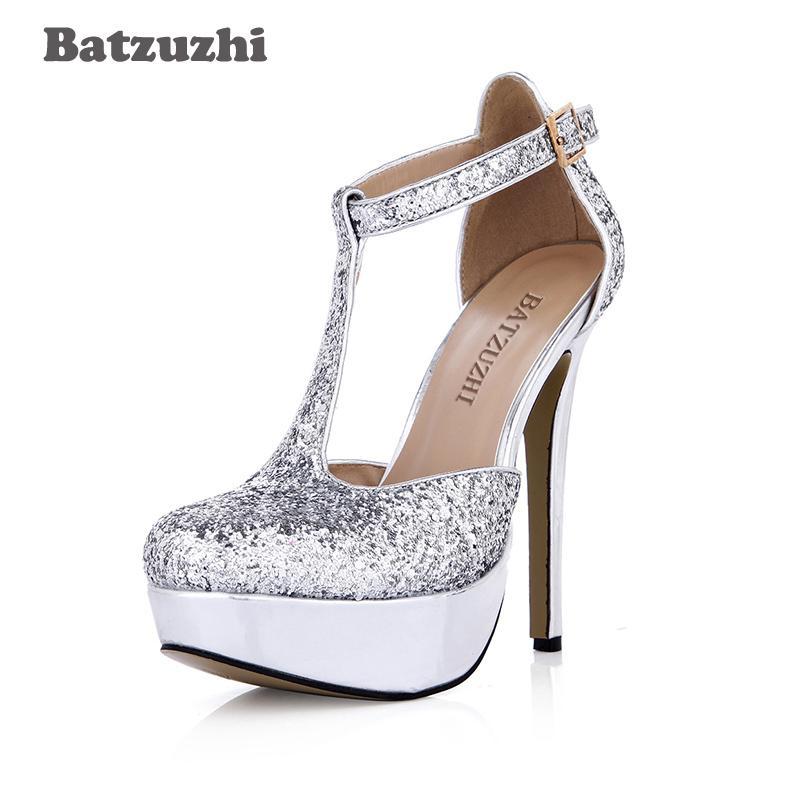 7f75fbb4b2f0 Compre Comercio Al Por Mayor T Strap Silver Shoes Women Round Toe 14cm  Ultra High Silver Glitter Wedding Shoes Pump Mujeres Scarpe Donna Party A   87.25 Del ...