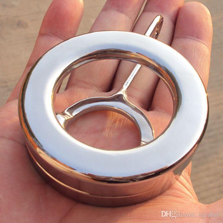 Nuovo design in acciaio inox CBT anelli del pene palla tortura giocattoli del sesso gli uomini Bondage Chastity Devices BDSM maschio cazzo fetish palle scroto anello