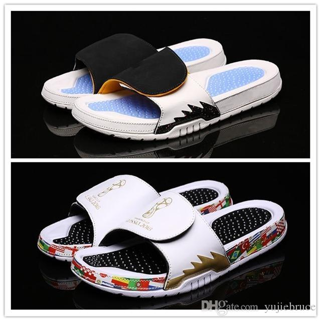 316c1110e1776 Best New Hydro 5 V Russia World Cup Men Slippers Black White Sandals Hydro  Jumpman Boys Casual Outdoor Sneakers Size 8 13 Moccasins For Women Loafers  For ...