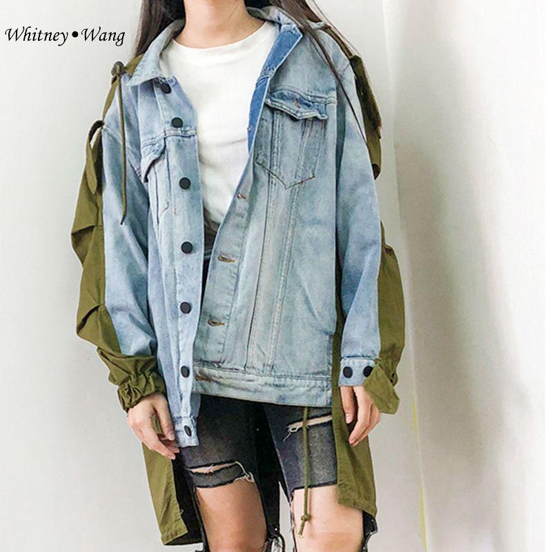 76e2dc0e838 WHITNEY WANG 2018 Autumn Winter Fashion Streetwear BF Style Colors Contrast  Patchwork Oversize Denim Jacket Women Jean Coat Denim Jacket Jackets For  Women ...