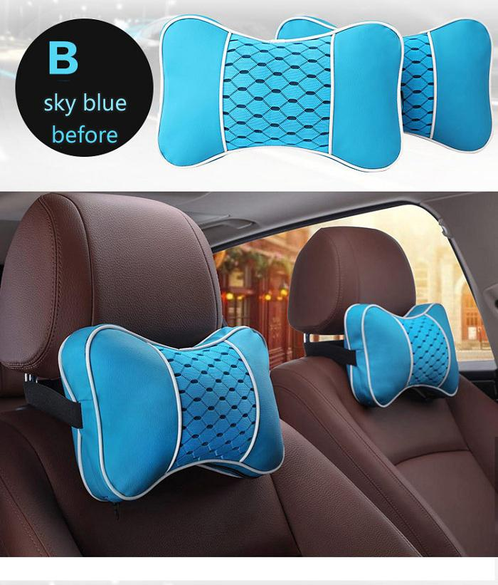 Car Seat Pillow >> Auto Car Seat Pillow Headrest Cushion Universal Fit Suv Sedans Front Back Seat Automotive Parts Pu Leather Check Ice Silk