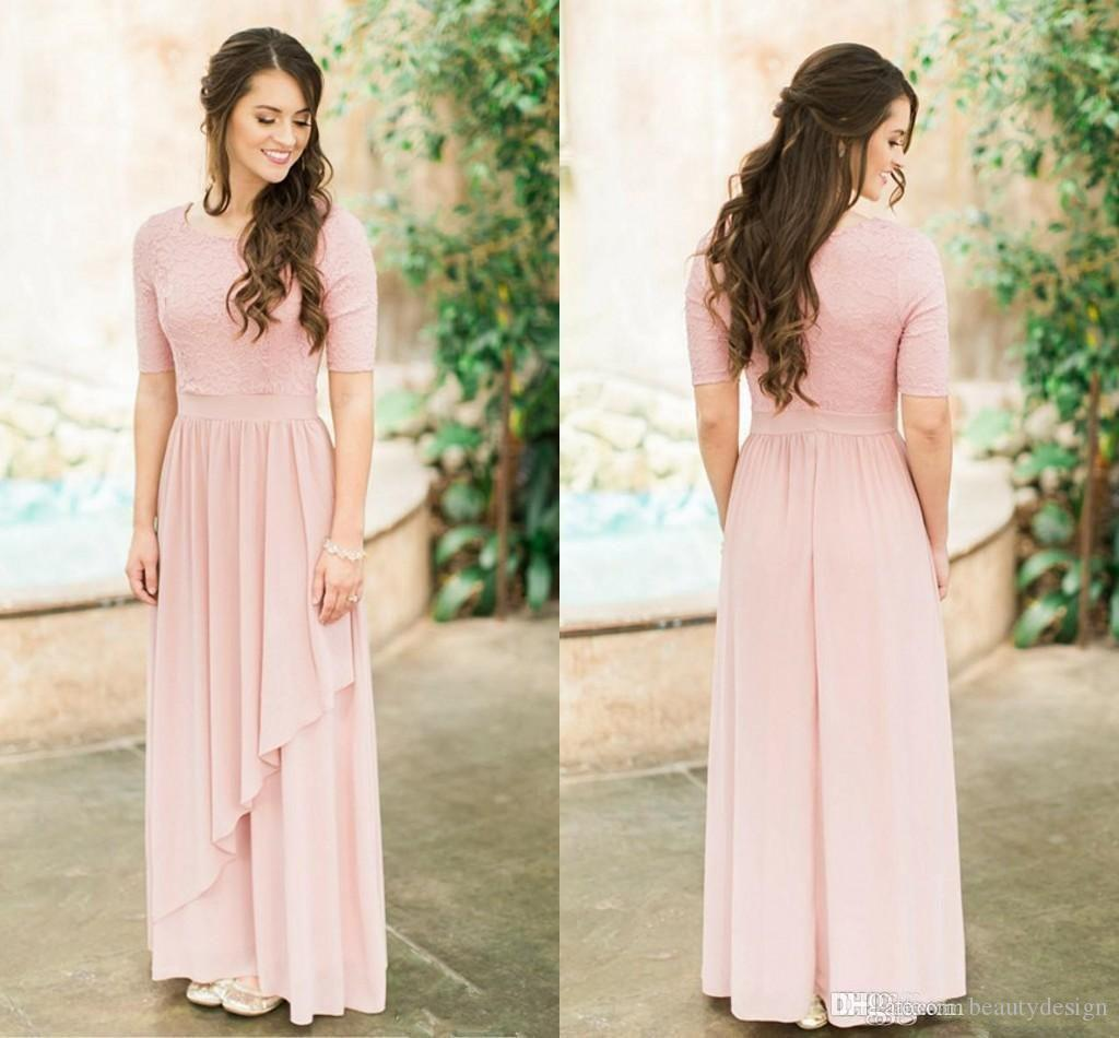 e4e0dd57a7c38 Rose Dusty Lace Bridesmaid Dresses 2018 Country Style Cheap Chiffon Half  Sleeves Country Wedding Bridesmaids Dresses Prom Party Dresses Cheap  Bridesmaid ...