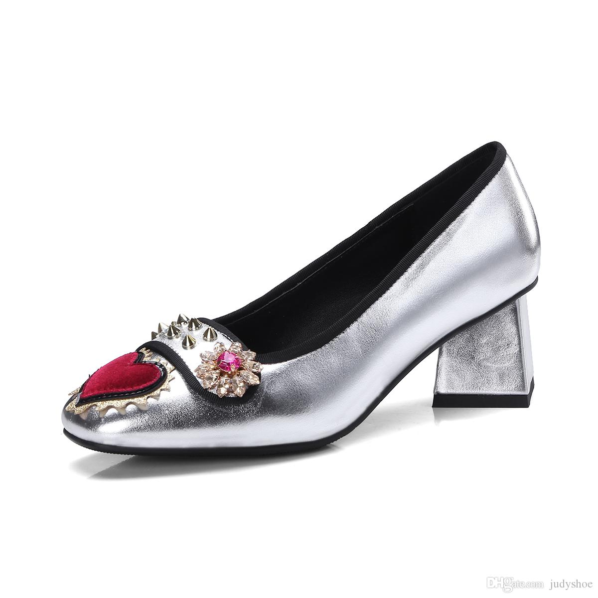 6c42cfa9b8e Spring Shoes Women Silver Blue Crystal Rhinestone Med Heels Spicked Rivets  Studded Love Heart Runway Pumps Zapatos Mujer Prom Shoes Hiking Shoes From  ...