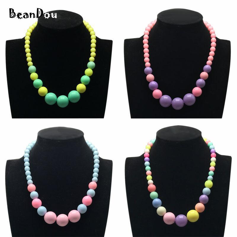 Мода прекрасный бисером ожерелье короткие колье Ожерелье для детей девочек Детские ювелирные изделия 40 см 16 дюймов 4 конфеты цвета