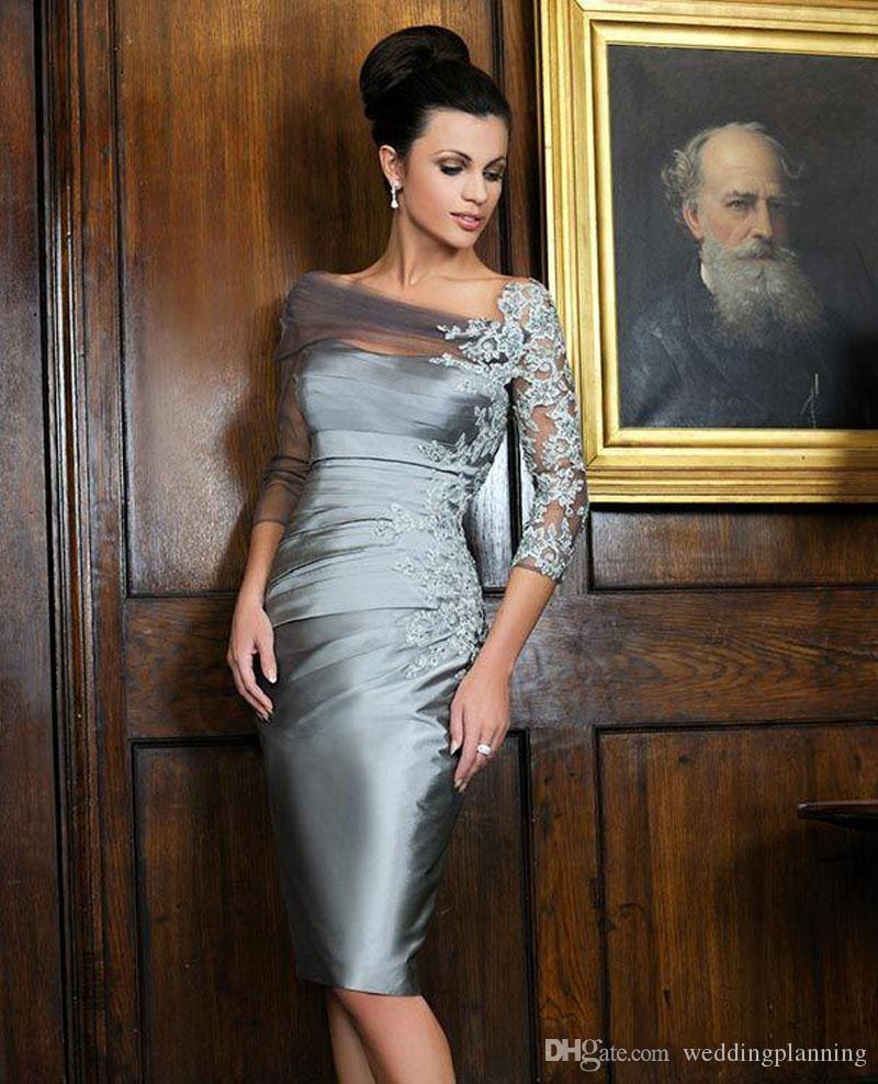 2018 Satin Cheap Retro Mother Dresses Off Shoulder Half Sleeve Sheer Applique Beads Lace Ruffles Knee Length Bride Of Mother Gowns Sheath