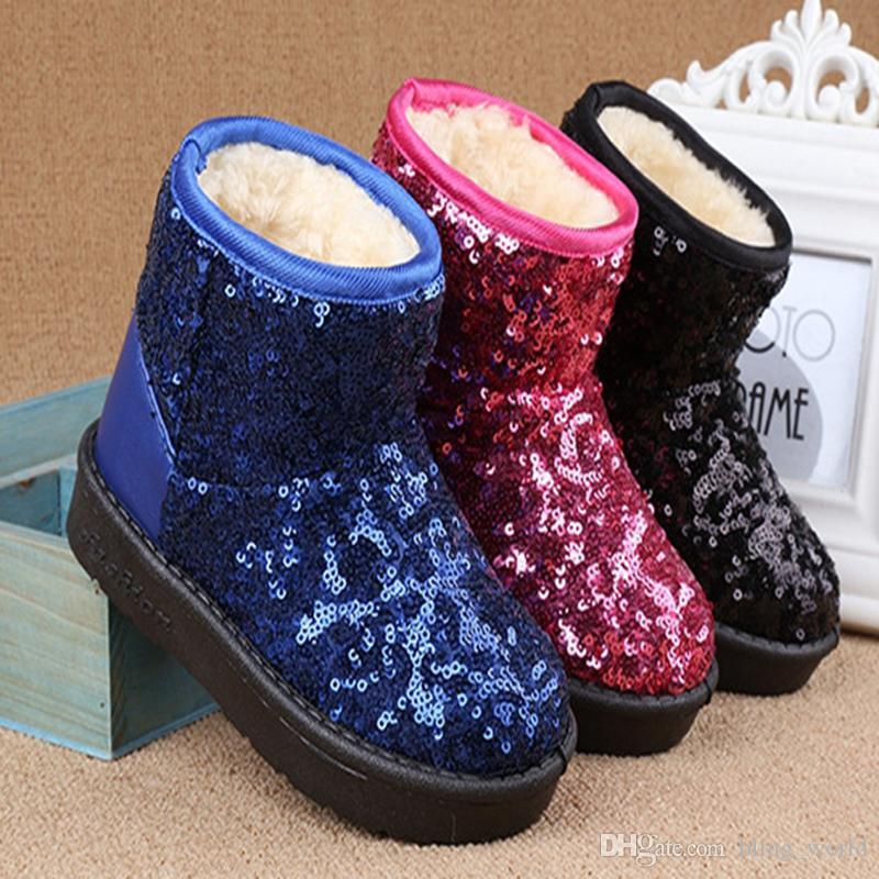 5178ca7be480 Kids Snow Boots Sequins Baby Girls Boot Thick Toddler Ankle Boots ...