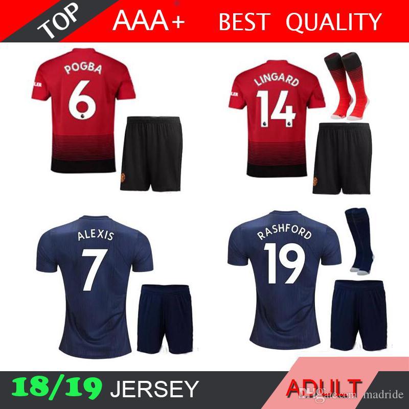 c680110fb Lukaku ALEXIS Man U MEN KIT 2018 2019 Soccer Jersey POGBA 18 19 UnITed Blue  MARTIAL Boys Camiseta De Futbol Customize Football Shirts Canada 2019 From  ...