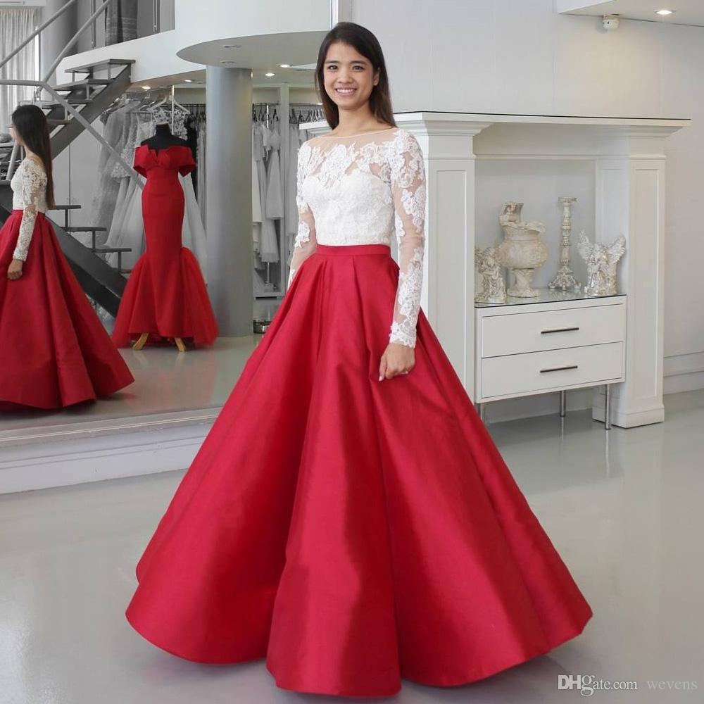 Two Pieces Ball Gown Organza Prom Dresses Scoop Neck Long Sleeve Lace Homecoming Dress Floor Length Ruffles Evening Party Gowns for Junior