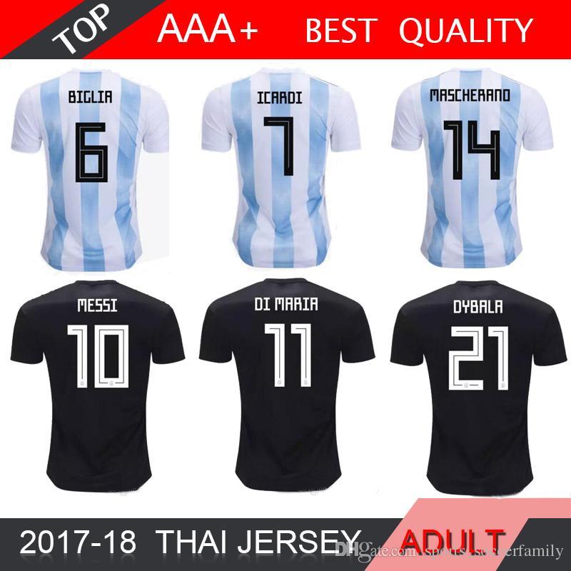 super popular d069c f2693 Messi Argentina 2018 Soccer Jersey 2018 home away Jersey Home DYBALA soccer  Shirt Aguero Di Maria Mascherano football uniform