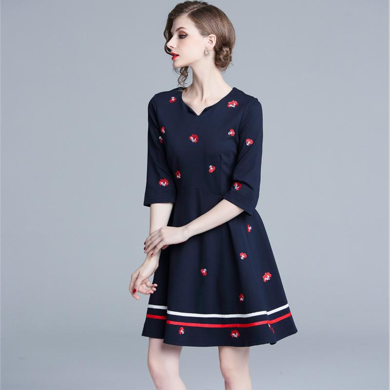 Vintage Girls Casual Dresses Embroidery Floral Striped High Waist A ... d5d2107cd0ab