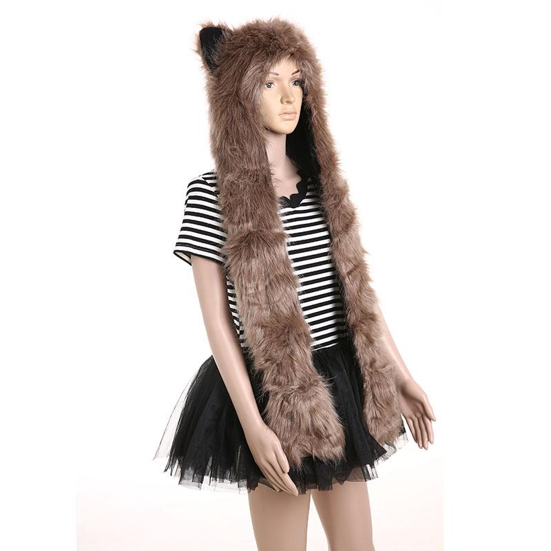 62b17fd9c7f 2019 L0555 Husky Hat Imitation Fox Fur Warm Scarf Winter Cotton Velvet Hat  Scarf Gloves Three Piece Man  Women Winter Set From Haoyunduo