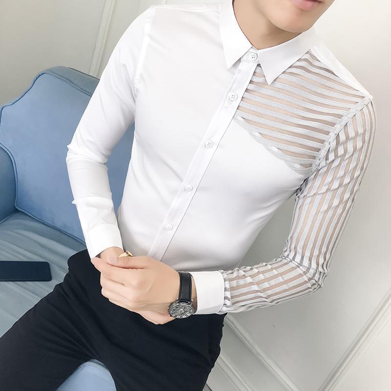 5acdbf6135 Compre Estilo Britânico Tuxedo Camisa Dos Homens Outono Novo Ver Através Do  Laço De Manga Comprida Camisas De Vestido Mens Slim Fit Casual Camisa  Masculina ...