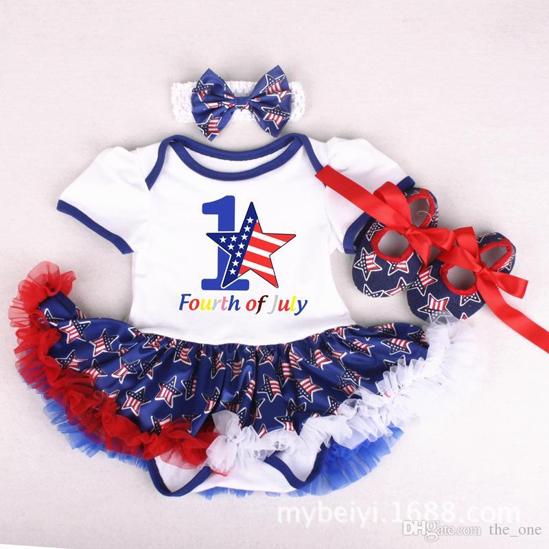 Детские Грили хлопчатобумажной пряжи пачка платья комбинезон Набор 3 шт. набор с комбинезон ободки обувь американский День Независимости флаги красный синий звезды Dresse