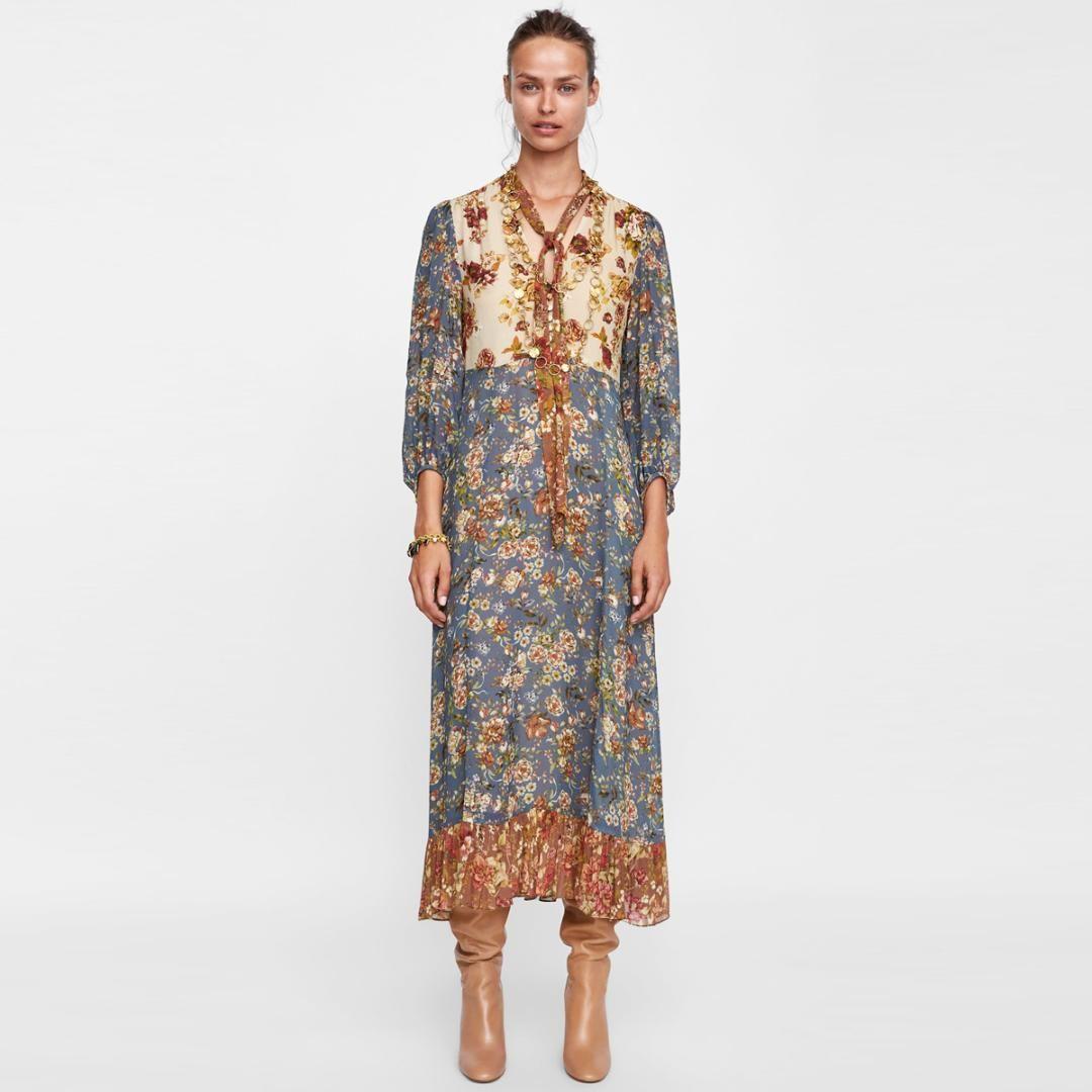 8a2734b1cd Compre Jastie Patchwork Print Dress Boho Hippie Que Fluye Midi Vestidos V  Cuello Con Lazo Largo Manga De Soplo Vestido De Otoño Mujeres Vestidos 2018  A ...
