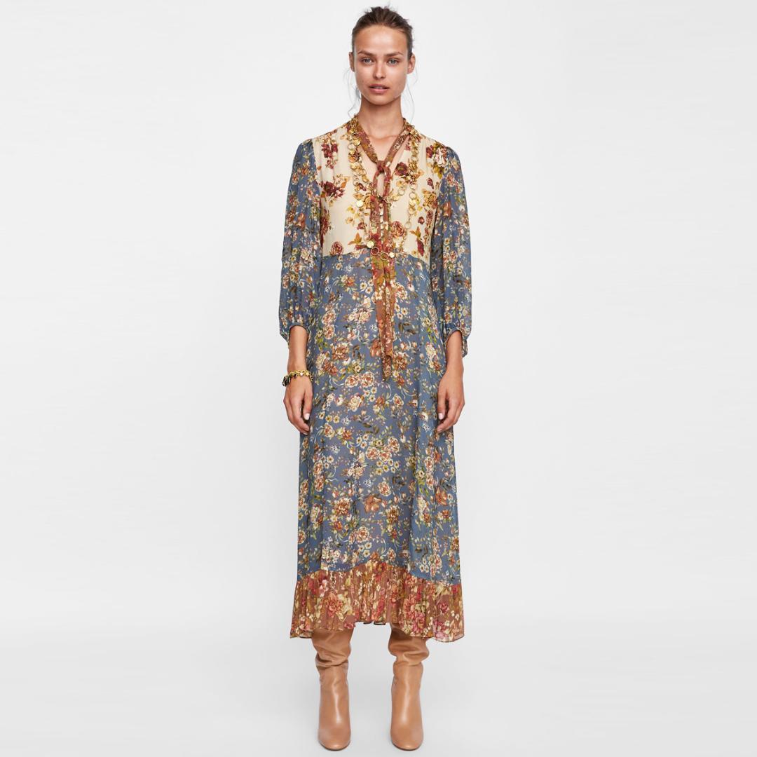 Großhandel Jastie Patchwork Print Kleid Boho Hippie Fließenden Midi