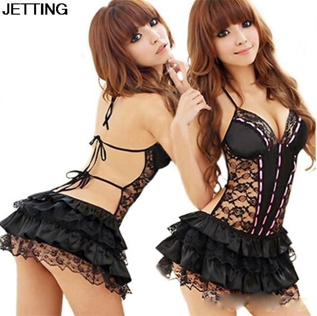 8bab93d8355 Lady Women Sexy Costumes Sexy Lingerie Hot Dress Underwear Backless Lace Set  Erotic Lingerie+G String Black Color Y1890305 Underwear Sets For Women Bra  And ...