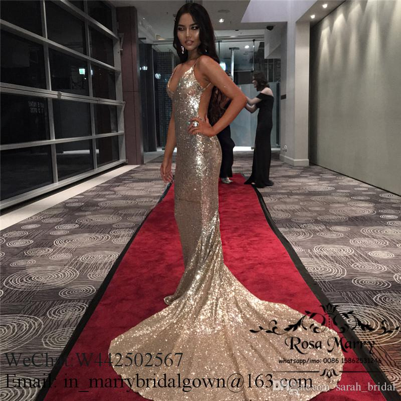 Bling Gold Sequined Mermaid Backless Prom Dresses 2020 Spaghetti Straps Plus Size Cheap African Arabic Formal Graduation Evening Party Gowns