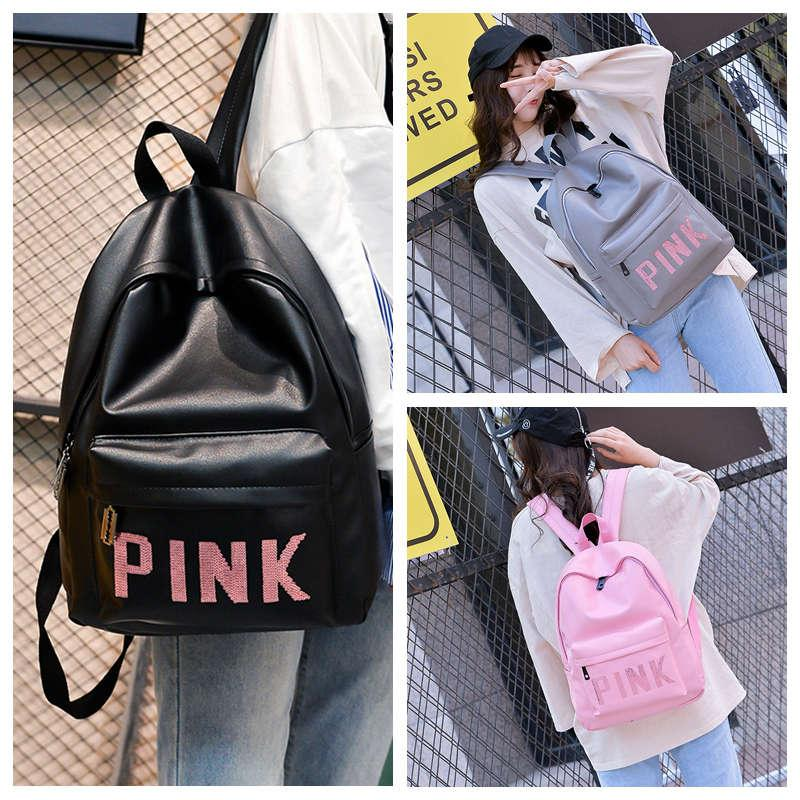 Pink Letter Sequins Backpack Teenagers Girls PU Waterproof Travel Double  Shoulders Backpacks Fashion Students School Bag Pink Letter Backpack  Sequins ... ff568f6cbd1d5