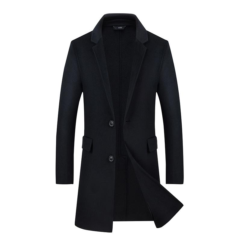 f2c0f5da5b00 Long Wool Jacket Men 2018 Brand New Winter Cashmere Pea Coat Casual Slim  Fit Single Breasted Woolen Trench Coats Mens Overcoat