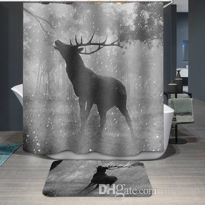 . Bulk Lot 5 Styles Waterproof Curtain Forest Deer Bathroom Accessories  Fabric Curtains for Living Room Bedroom Windows Luxury Home Decor